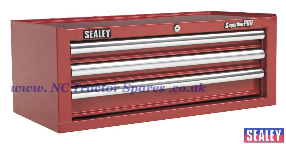 Add-On Chest 3 Drawer with Ball Bearing Runners - Red